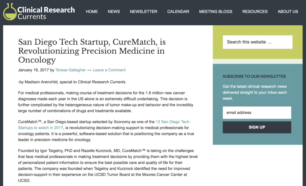 CureMatch Co-Founders Featured in Clinical Research Currents