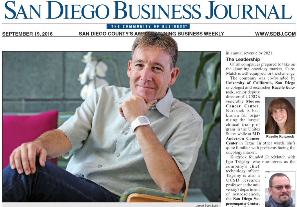 CureMatch Featured On Cover of San Diego Business Journal