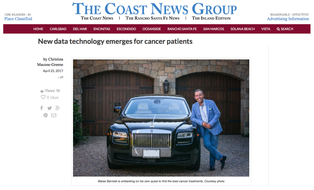 Coast News highlights Cancer Survivor and CureMatch CEO Blaise Barrelet's journey