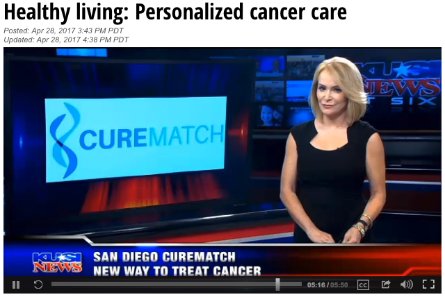 "KUSI Evening News ""Healthy Living"" covers CureMatch's personalized approach to cancer therapy"