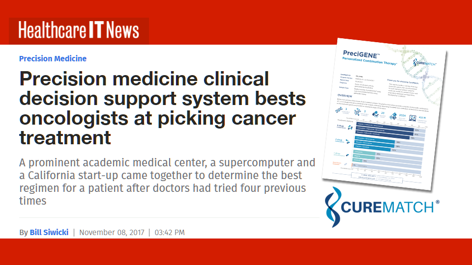 HealthcareIT News Article Shows CureMatch Platform Helps Oncologists